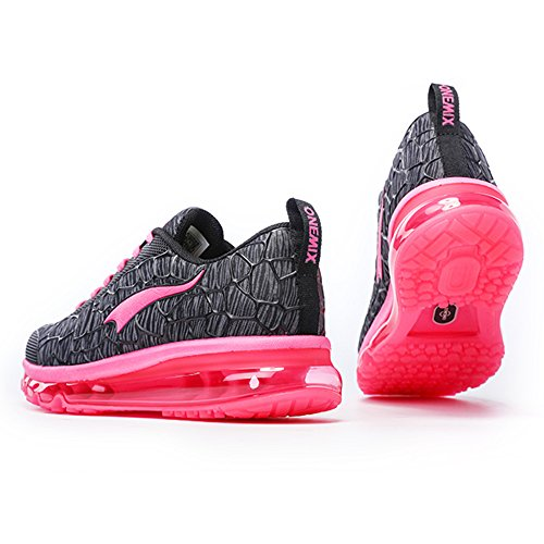 Onemix Air Baskets Chaussures Gym Fitness Sport Lacet Sneakers Style Running Multicolore Respirante Homme Black/pink