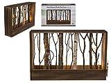 Naturfarbener Holz-Deko-Rahmen mit Ästen und 12 warmweißen LED Lichter ca.40x26x8 cm Fenster-Deko Stimmungs-Licht