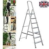 Heavy Duty 7 Step Ladder Aluminium Folding Portable Stepladder Anti-Slip Safe Comfort Steps