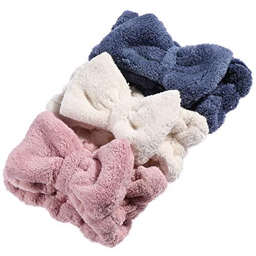 (Lurrose 3 STÜCKE Korallen Haarschleife Stirnbänder Weichen Dicken Wickelkopf Elastische Make-Up Headwear Für Frauen Mädchen)