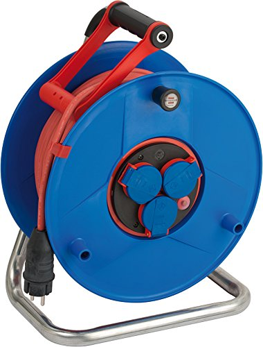 Brennenstuhl Garant Bretec IP44 Gewerbe-/Baustellen-Kabeltrommel (50m - Spezialkunststoff, Baustelleneinsatz und ständiger Einsatz im Außenbereich, Made In Germany) blau
