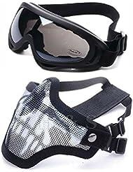 2en 1protección máscara de malla de acero + protección UV400wind-shield anti-sand Gafas de Airsoft, Paintball, color negro
