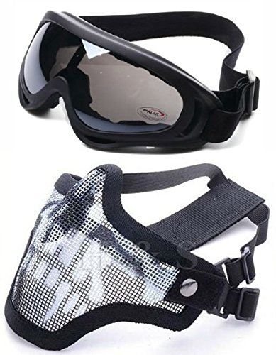 2 EN 1 PROTECCION MASCARA DE MALLA DE ACERO + PROTECCION UV400 WIND-SHIELD ANTI-SAND GAFAS DE AIRSOFT  PAINTBALL  COLOR NEGRO