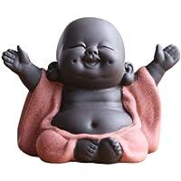 HEALLILY Statue de Bouddha rieur Maitreya en céramique - Décoration de thé - Petit moine - Accessoires (Style sourire…