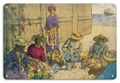 Pacifica Island Art 22cm x 30cm Vintage Metallschild - Blumenkranzflechtende Frauen in Honolulu's Hafen - Blumenkranz Tag in Hawaii - Retro hawaiianische Zeichnung von Charles W. Bartlett c.1929
