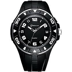 Unisex 30M Waterproof Night Light Simple Style PU Leather Strap Quartz Wrist Watch(Black)