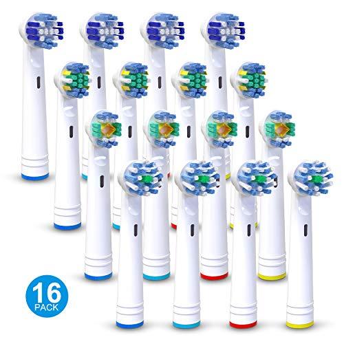 Testine di ricambio per spazzolino elettrico Oral-B, Homegoo Ricariche testine per spazzolino elettrico per serie Pro, serie Genius e serie Smart - 4 croci, 4 di precisione, 4 fili e 4 bianchi 3D