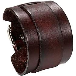 JewelryWe Bijoux Bracelet Homme Manchette Enveloppez Adjustable Cuir Fantaisie Couleur Marron avec Sac Cadeau