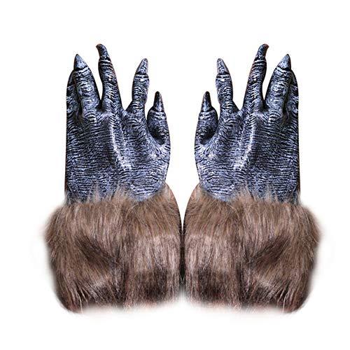 Kostüm Werwolf Muster - Cosanter Gummi Handschuh Halloween Make-up Horror Streich Requisiten Bekleidungszubehör (Werwolf Pfoten Muster)