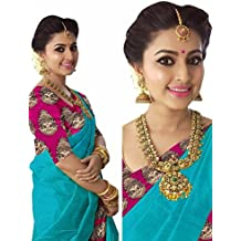 Indian Beauty Women's Chanderi Cotton Print Border With Blouse Saree