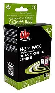 HP - CH561EE/CH562EE-N°301 - 1 Noir + 1 Couleur - Grande Capacité - Economique - Qualité équivalente à la cartouche d'origine - Garanties et Assistance - Le Meilleur rapport Qualité/Prix - Expédié depuis la FRANCE
