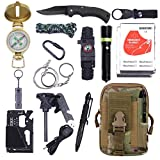 renghe First Aid Kit - First Aid Kit. Outdoor Survival Tools for Camping, Hiking, Hunting, Adventure travel. Includes Multi-Tool/fire Stick/Whistle/Flashlight/Climbing Rope/Compass