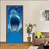 ZDDBD 3D Stickers Porte Interieure Trompe l'oeil Poster Mural Effet Décoration Requin des Grands Fonds Salon Cuisine Chambre Salle De Bain Papier Peint 90 * 200Cm