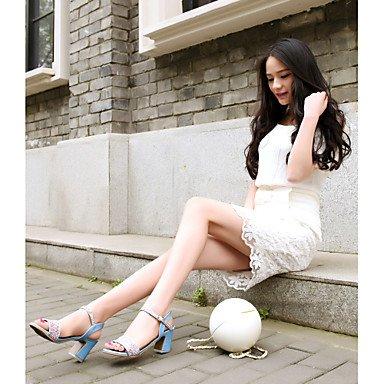 LvYuan Damen-Sandalen-Hochzeit Kleid Party & Festivität-Kunstleder-Blockabsatz-Andere D'Orsay und Zweiteiler Club-Schuhe-Blau Rosa Weiß White