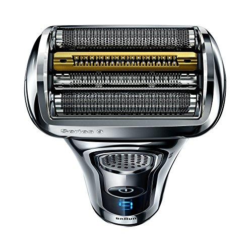 Braun Series 9 9296cc   Afeitadora eléctrica de lámina para hombre  en húmedo y seco  recortadora de precisión extraíble  recargable e inalámbrica  Clean&Charge y funda de viaje de cuero  cromo