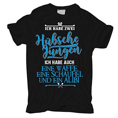 Männer und Herren T-Shirt Ich habe ZWEI hübsche Jungen WAFFE SCHAUFEL ALIBI Körperbetont schwarz