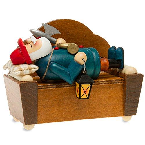 SIKORA Räuchermännchen aus Holz - Serie A - 2 Größen - verschiedene Motive, Farbe / Modell:A22 blau - Nachtwächter auf dem Sofa;Größe RM / NK:Höhe ca. 15 cm