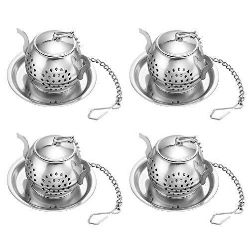Stonges Teekanne Tee Infuser Edelstahl Loose Leaf Teesieb Filter mit Ketten und Drip Trays Sieb Filter Infuser für Tee Tassen, Tassen (4) Teekanne Tee Infuser