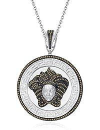 "Silvernshine 1.25Ct Round Cut Citrine Versa Pendant 18"" Chain In 14K White Gold Fn 925 Silver"