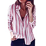 BHYDRY Mode Frauen Gestreiften Casual Top T Shirt Damen Lose Langarm Top Bluse(M,Rosa)