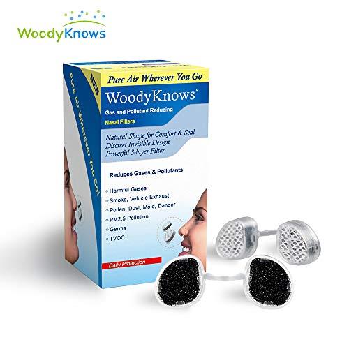 woodyknows filtro nasale ultra traspirante per la prevenzione di allergie da fieno, pollini, polvere, peli e pelli animali. blocca allergeni e polveri sottili presenti nell'aria