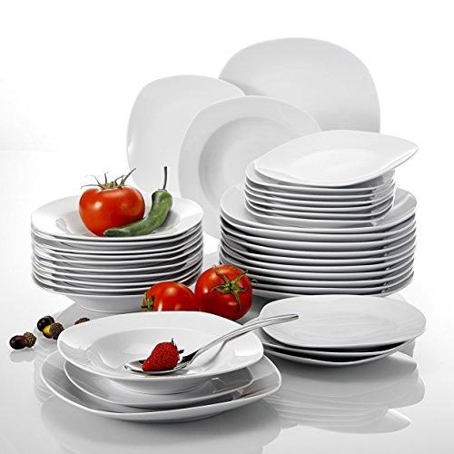 Malacasa, Serie Elisa, 36 piezas Juegos de vajilla vajilla de porcelana,vajilla completa 12 platos de postre, 12 platos de sopa y 12 platos plano para 12 personas