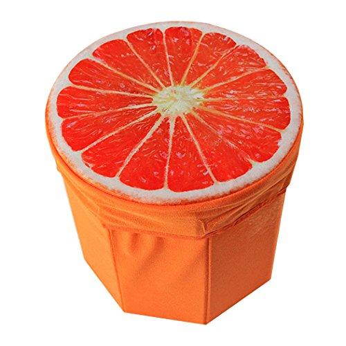 Taburete plegable taburete de asiento para niños juguetes de almacenamiento Caja de almacenamiento de almacenamiento para el hogar y Bar disponible, Naranja, 30*30cm