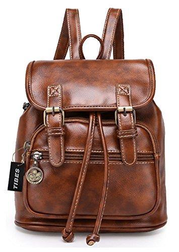 Tibes Mochila de cuero PU mochila de moda para las mujeres A marrón