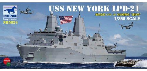 Bronco Models U.S.S. Nueva York lpd-21San Antonio-Class anfibia Transporte Dock Barco, Escala 1/350