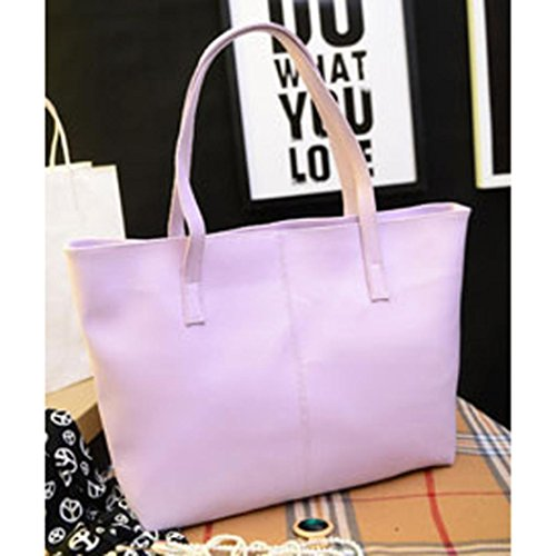 Hunpta Frauen Schulter Mode Handtasche Damentasche Tasche Handtasche Leder Lila