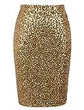 PrettyGuide Damen Pailletten Rock Hohe Taille Funkeln Bleistift Rock Party Cocktail L Gold