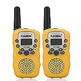 FLOUREON Talkie Walkies Paire Enfant Radios bidirectionnelles 8 canaux 3000M (Max 5000M extérieur) UHF Longue Portée Portable Walkies Talky (Jaune)