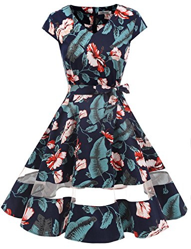 Gardenwed Damen Vintage 1950er Retro Rockabilly Festliches Kleid Cocktailkleider PartyKleid Navy Flower 2XL