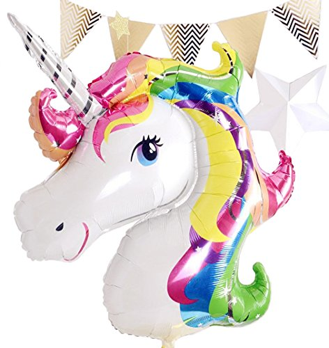 Glanzzeit 85 x 75 cm Großer Regenbogen Einhorn Luftballon Geburtstagsfeier Kinderparty Deko Folienballon