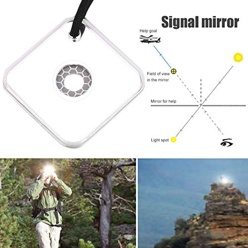 Ruirain-FR Heliograph Signal Mirror with Whistle Multifunctional Outdoor Emergency Survival Tool with Targeting Function