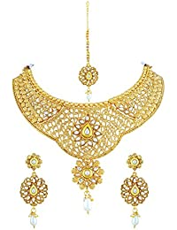Asmitta Shimmering Flower Shape Gold Plated Choker Style Necklace Set With Mangtikka For Women