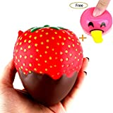 Hotsellhome Jumbo Strawberry Squishies Scented Squishy Slow Rising Decompression Soft Toy Kids Adult Squeeze Toys Collection Gift (A)