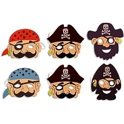 Máscaras de pirata de foam, pack de 12.
