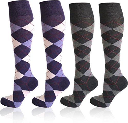 4 Paar normani® karierte Reit-Kniestrümpfe mit Frotteesohle - Reitsocken für Mädchen und Damen [Gr. 35-46] Farbe Farbset 2 Größe 35-38