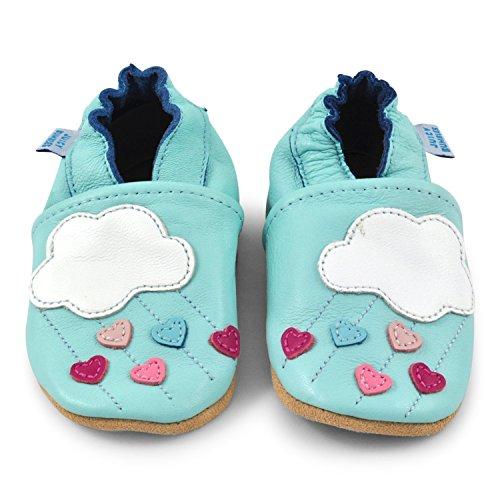 Juicy Bumbles - Weicher Leder Lauflernschuhe Krabbelschuhe Babyhausschuhe mit Wildledersohlen. Junge Mädchen Kleinkind 0-6 Monate 6-12 Monate 12-18 Monate 18-24 Monate Wolken