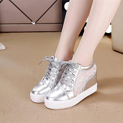 Damen Sneaker Rundzehen Plateau Unsichtbar Erhöhung Mesh Atmungsaktiv Rutschhemmend Strapazierfähig Schick Freizeit Modisch Schnürhalbschuhe Silber