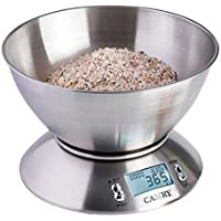 Camry Bilancia Elettronica da Cucina 5kg/ 11lb, Ciotola Mescolata, Timer Allarme, Indicatore Temperatura, Display Retroilluminato (acciaio INOX) - EK4150