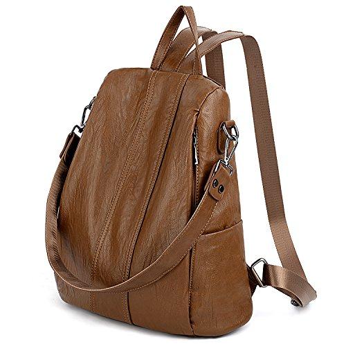 UTO Damen Anti-Theft Rucksack Handtasche PU Washed Leder Cabrio Damen Rucksack Schultertasche Brown -