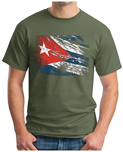 OM3 CUBA-VINTAGE - T-Shirt Che Guevara Kuba Fidel Castro Viva La Rvolution Geek Havana, L, Oliv (Herren Disco Shirt Vintage)