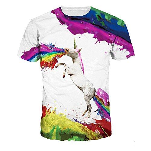Quceyu T Shirt Herren 3D Kreativ Muster Kurzen Ärmels mit Rundhalsausschnitt Lässig Graphic Top Tees (Medium, Weiß2) (Sommer-grafik-t-shirt)