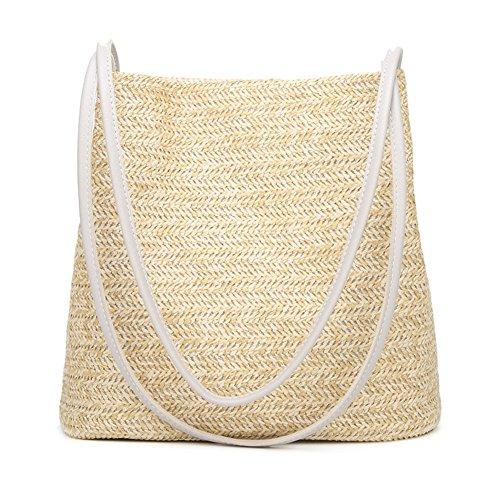 Fansi 1 Stück Fashion Simple Sommer- und Herbsttasche New One Shoulder Bucket Type Weaving Handtaschen Strohtasche, Stroh, weiß, 27cm*14cm*27cm -