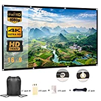 Projector Screen 100 Inch, Portable Projector Screen with 16:9 HD 4K Screen for School Home Theatre Cinema Office, Foldable Projector Screen - 227cm(W) X 130cm(H) Matte White Widescreen