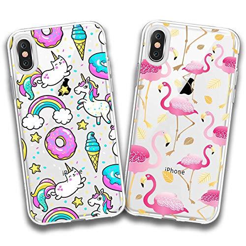 Due cover iphone xs max,ciambella unicorno + fenicottero rosa premium morbida trasparente silicone gel tpu anti-graffio cellulare protezione custodia per iphone xs max (6,5