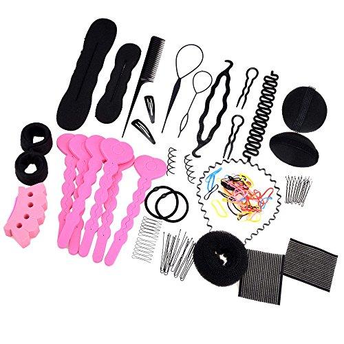 Zeagoo Haarknoten Roller Zopf Twist Gummibänder Stifte Haar Design Frisuren Werkzeuge Set