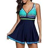 iBaste Tankini Damen Badeanzug mit Röckchen Badekleid mit Shorts Bademode Damen große größen Swimsuit (3XL, Dunkielblau)
